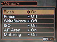 Casio EX-Z120 Memory Menu