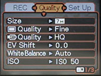 Casio EX-Z120 Quality Menu