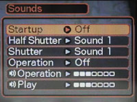 Casio EX-Z120 Sounds Menu