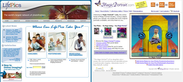 Lifepics And Magic Portrait Websites