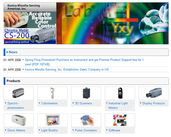 Konica Minolta Sensing Americas, Inc. Website Screenshot
