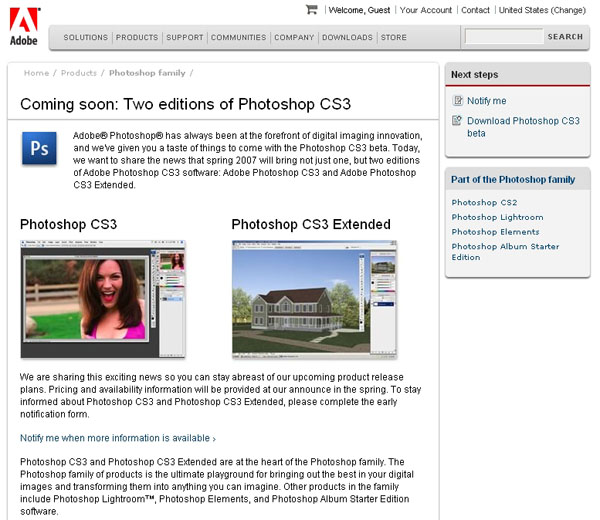 Adobe Announces Two Versions Of Photoshop CS3