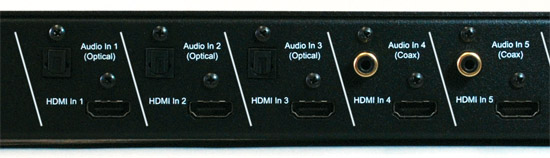 VZ-S5100 5x1 HDMI Switcher and Digital Audio Synchronizer - Inputs