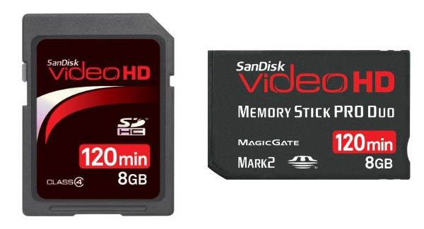 SanDisk Video HD SDHC and Memory Stick PRO Duo Cards For Digital HD Camcorders