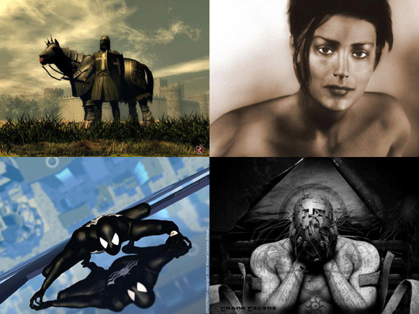 From Left to Right: The Last Day by Alexander; Natural Beauty by Syyd Raven; Spider on Glass by Doug Sturk; Conventum Elementum by Frank Picini
