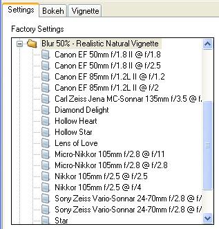 Bokeh Interface - Lens Selection