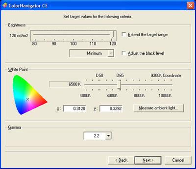 Eizo ColorEdge CE240W ColorNavigator CE - Setting Values