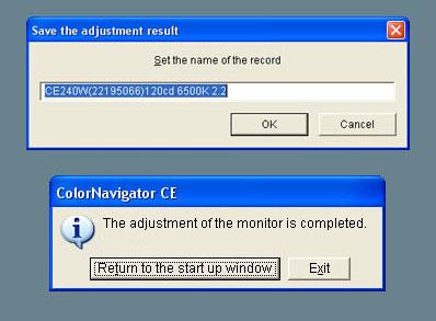 Eizo ColorEdge CE240W ColorNavigator CE - Calibration Adjustment Result