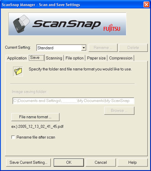 Fujitsu ScanSnap Manager (Second Tab)