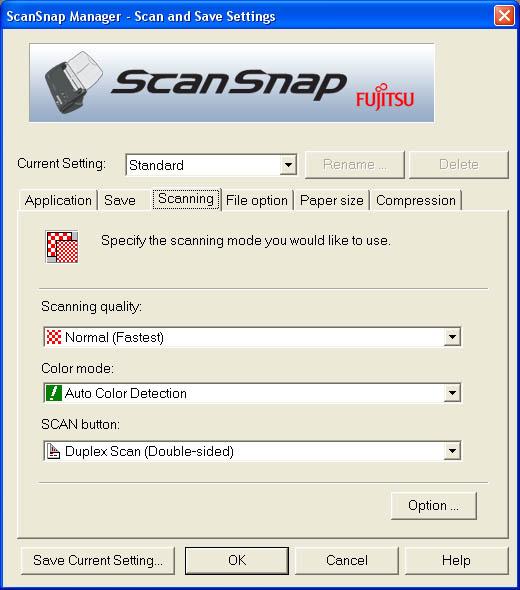 Fujitsu ScanSnap Manager (Third Tab)