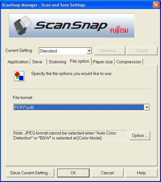 Fujitsu ScanSnap Manager (Fourth Tab)