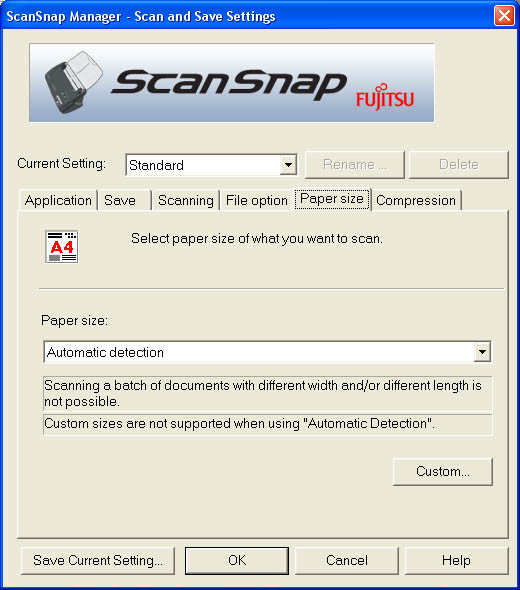 Fujitsu ScanSnap Manager (Fifth Tab)