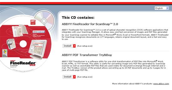 Fujitsu ScanSnap S500 Setup - Installing ABBYY FineReader OCR 2.0