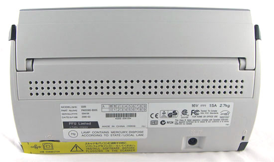 The Back Of The Fujitsu ScanSnap S500