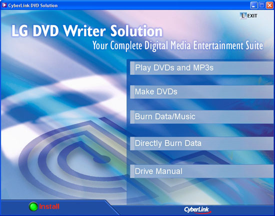 LG DVD Writer Solution CD Menu
