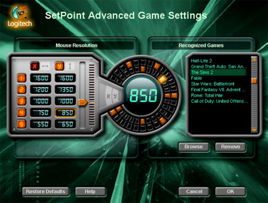 Logitech SetPoint Advanced Game Settings