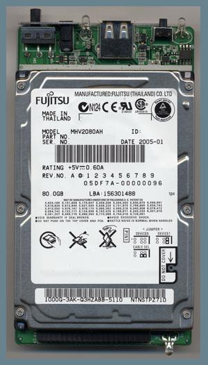 Fujitsu MHV2080AH attached to 250OTG