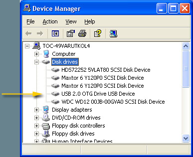 Screenshot of 250OTG and Fujitsu MHV2080AH being recognized by Device Manager