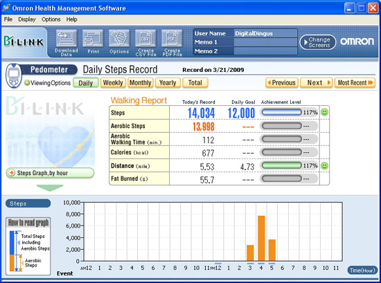 Omron Health Management Software User Interface