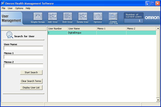 Omron Health Management Software User Interface - User Management