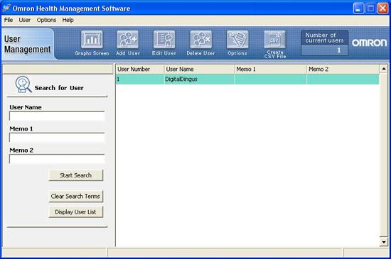 Omron Health Management Software User Interface - User Management
