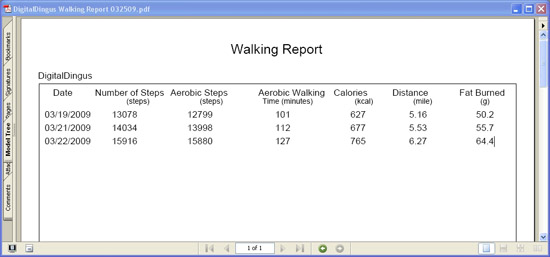 Omron Health Management Software - PDF Walking Report