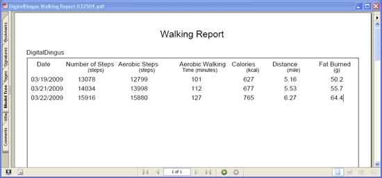 Omron Health Management Software - PDF Walking Report