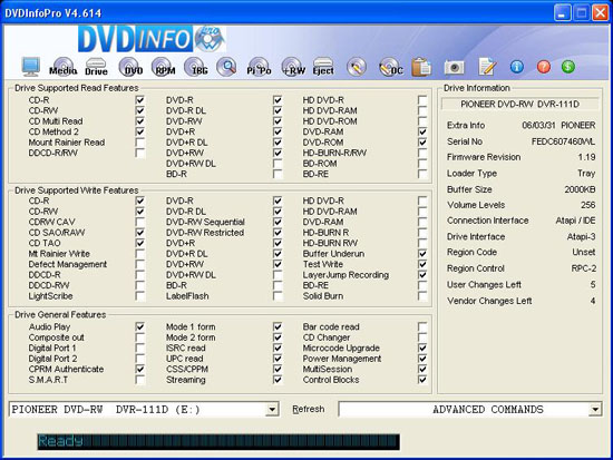 Pioneer DVR-111DBK's profile as viewing it with DVD Info Pro