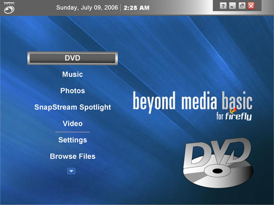 SnapStream's Beyond Media Basic For FireFly PC Remote